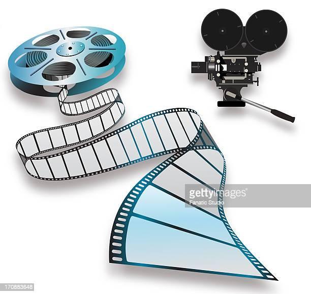 ilustrações de stock, clip art, desenhos animados e ícones de close-up of a film reel and camera - maquina fotografica antiga