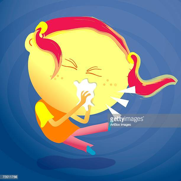ilustraciones, imágenes clip art, dibujos animados e iconos de stock de close-up of a girl sneezing - blowing nose