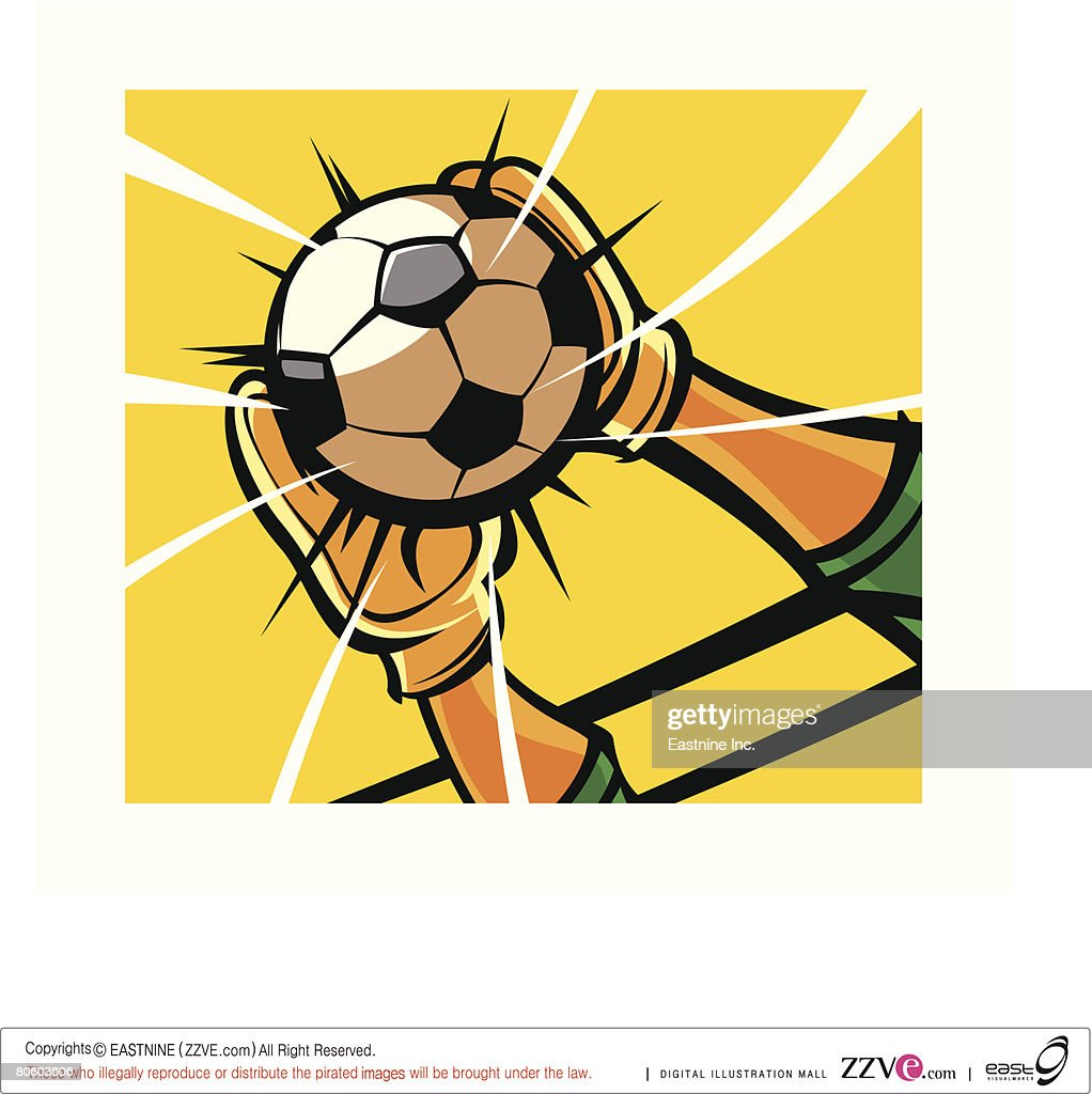 Close-up of a goalkeeper's hands catching a soccer ball : stock illustration