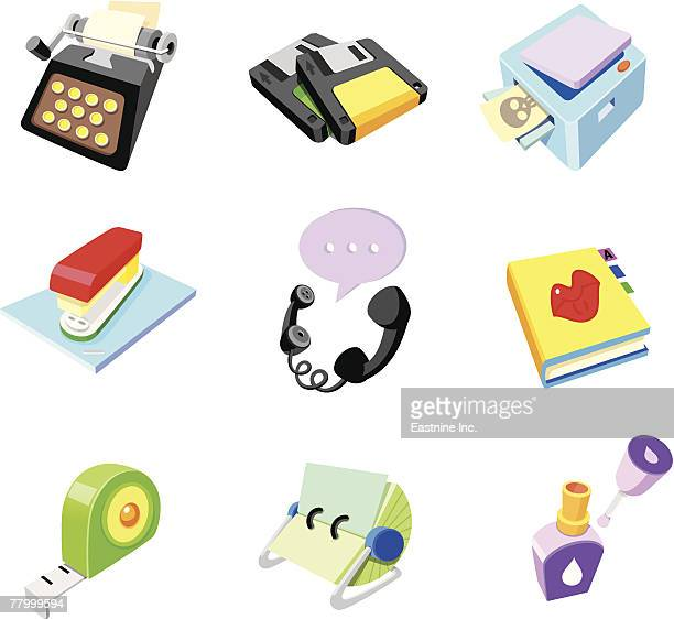 close-up of a group of office supply objects - correction fluid stock illustrations