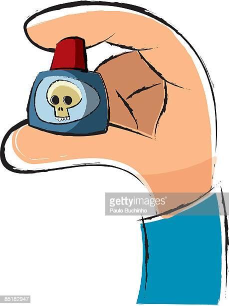 ilustrações de stock, clip art, desenhos animados e ícones de closeup of a hand holding a small bottle of poison - buchinho