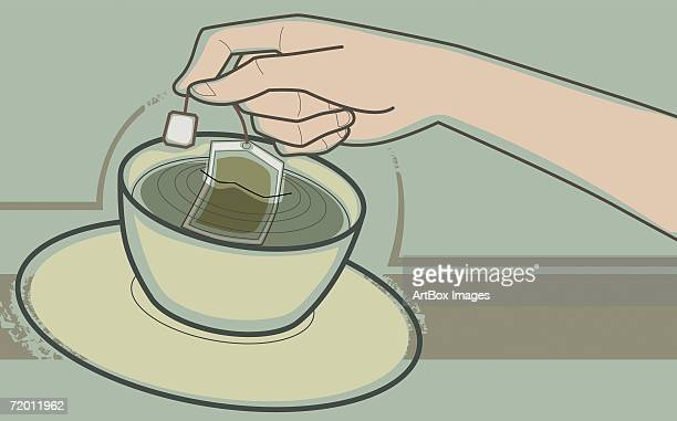 close-up of a human hand dipping teabag in a tea cup - dipping stock illustrations, clip art, cartoons, & icons