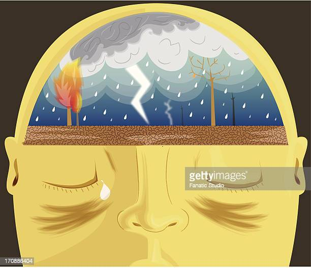 close-up of a human head consisting with heavy rains depicting headache - menopause stock-grafiken, -clipart, -cartoons und -symbole