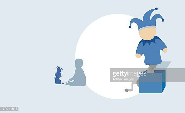 illustrations, cliparts, dessins animés et icônes de close-up of a jack-in-the-box with the silhouette of a child playing with a jack-in-the-box in the background - diable à ressort