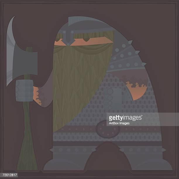close-up of a man holding an axe - helmet visor stock illustrations, clip art, cartoons, & icons