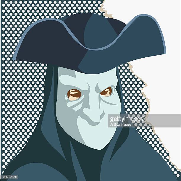 close-up of a man wearing a face mask - obscured face stock illustrations, clip art, cartoons, & icons