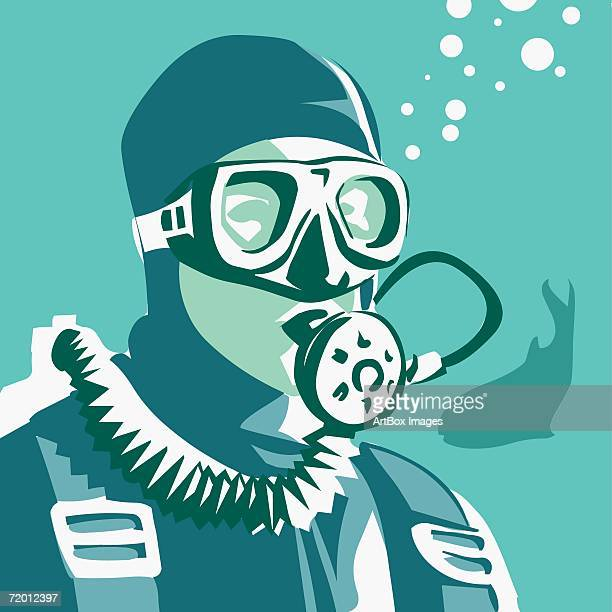 close-up of a man wearing a scuba mask in the sea - diving stock illustrations