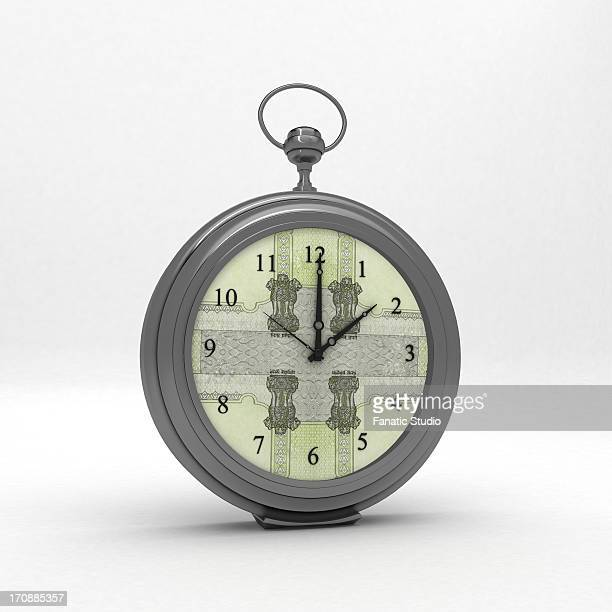 ilustraciones, imágenes clip art, dibujos animados e iconos de stock de close-up of a money clock - reloj de bolsillo