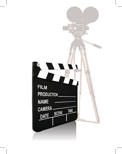 Close-up of a movie camera with a film slate