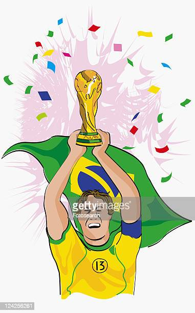 close-up of a soccer player holding up the world cup - international soccer event stock illustrations