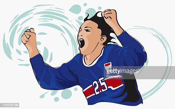 close-up of a soccer player shouting with his arms raised - sports organization stock illustrations, clip art, cartoons, & icons