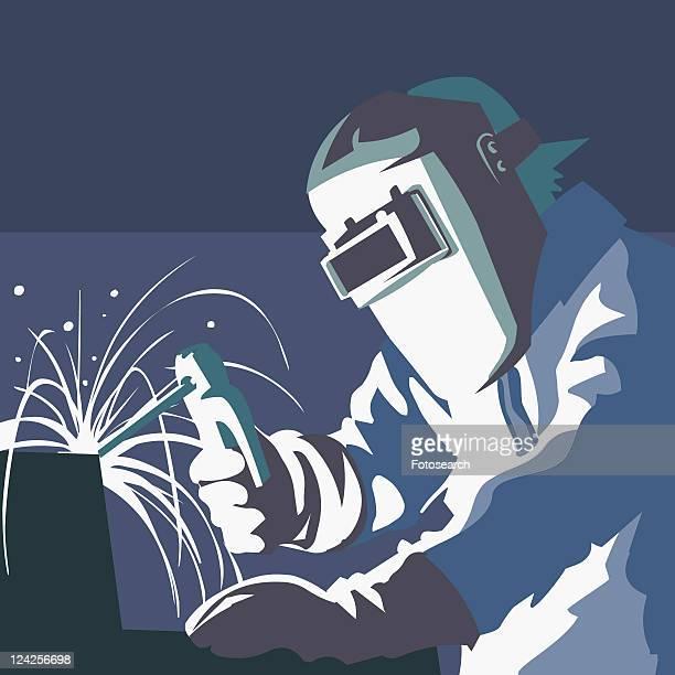 ilustraciones, imágenes clip art, dibujos animados e iconos de stock de close-up of a welder welding - soldar