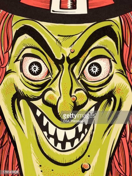 ilustraciones, imágenes clip art, dibujos animados e iconos de stock de primer plano de cara de una bruja - enfermedad de la piel