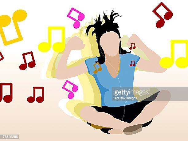 close-up of a woman sitting and listening to music - hair color stock illustrations, clip art, cartoons, & icons