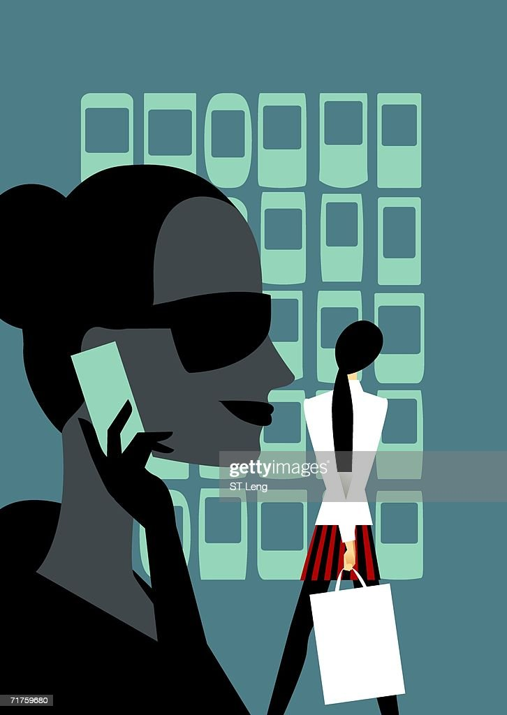 Close-up of a woman using on a mobile phone with a woman standing behind her holding a shopping bag : stock illustration