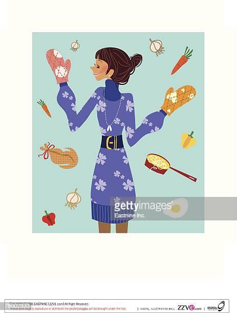close-up of a woman wearing oven mitt - hair bun stock illustrations, clip art, cartoons, & icons