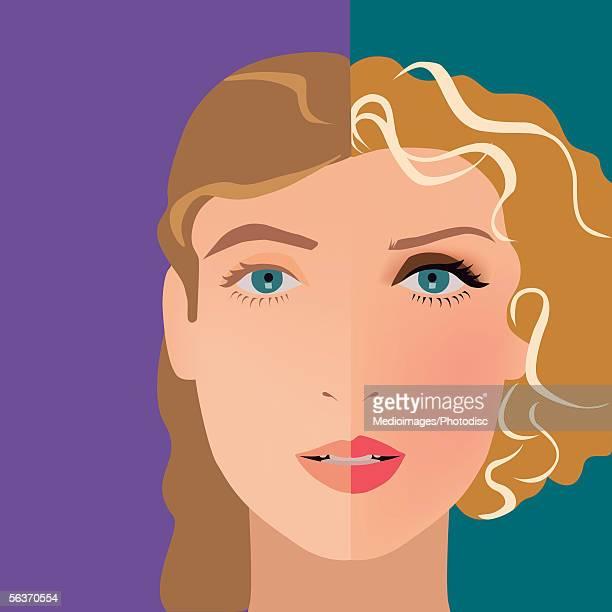 close-up of a woman's face highlighting two different looks - europäischer abstammung stock-grafiken, -clipart, -cartoons und -symbole