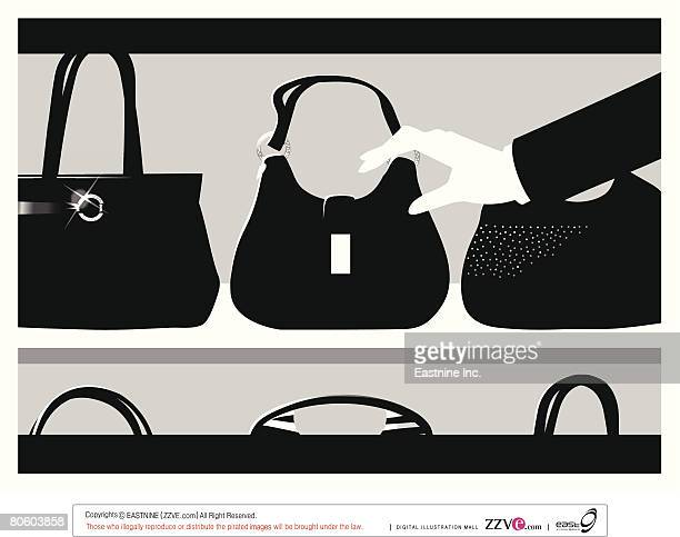 ilustraciones, imágenes clip art, dibujos animados e iconos de stock de close-up of a woman's hand picking a hand bag from a display cabinet - display cabinet