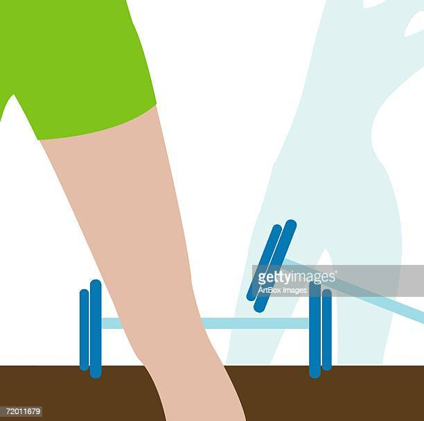 close-up of a woman's leg in a gym - leisure facilities stock illustrations, clip art, cartoons, & icons