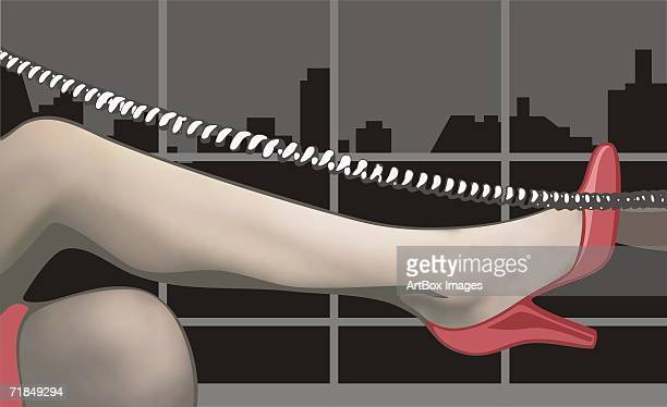 close-up of a woman's leg with a telephone cord - phone cord stock illustrations, clip art, cartoons, & icons