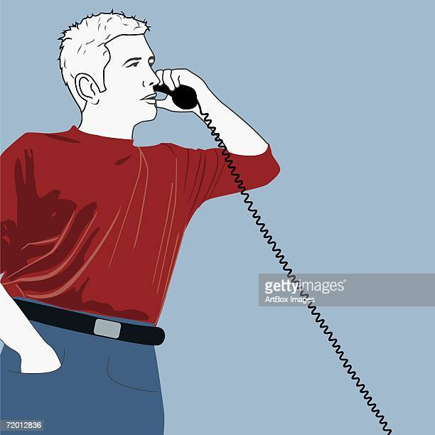 close-up of a young man talking on the telephone - phone cord stock illustrations