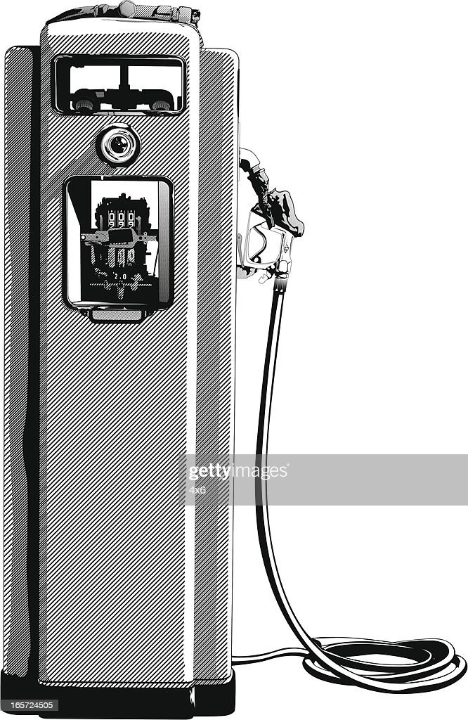 Close-up of an abandoned fuel pump : stock illustration