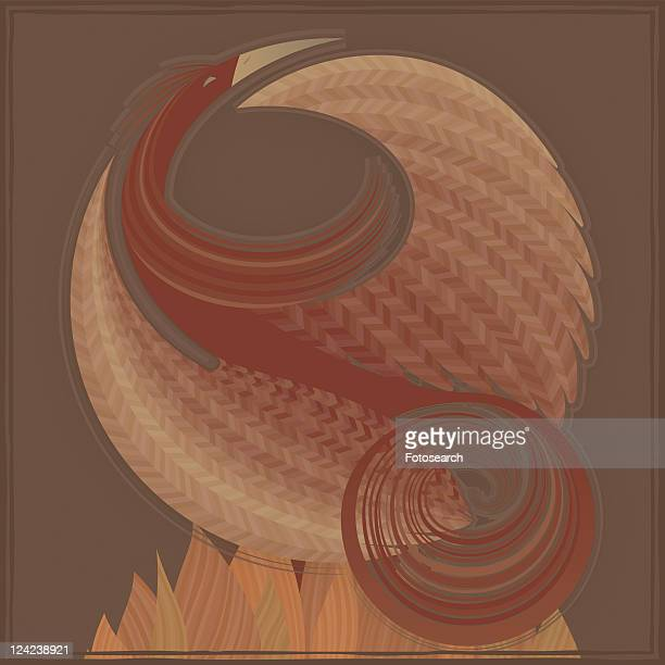 close-up of an eagle standing over flames - animal limb stock illustrations, clip art, cartoons, & icons
