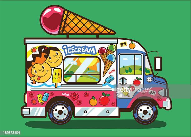 ice cream truckのイラスト素材と絵 getty images