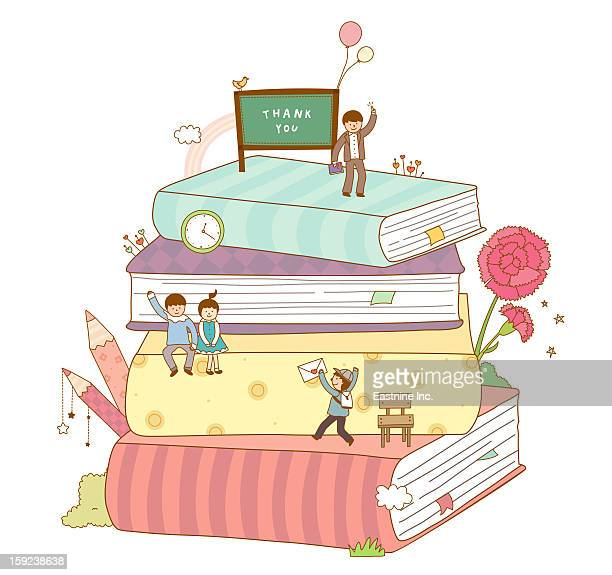 close-up of books - carnation flower stock illustrations, clip art, cartoons, & icons