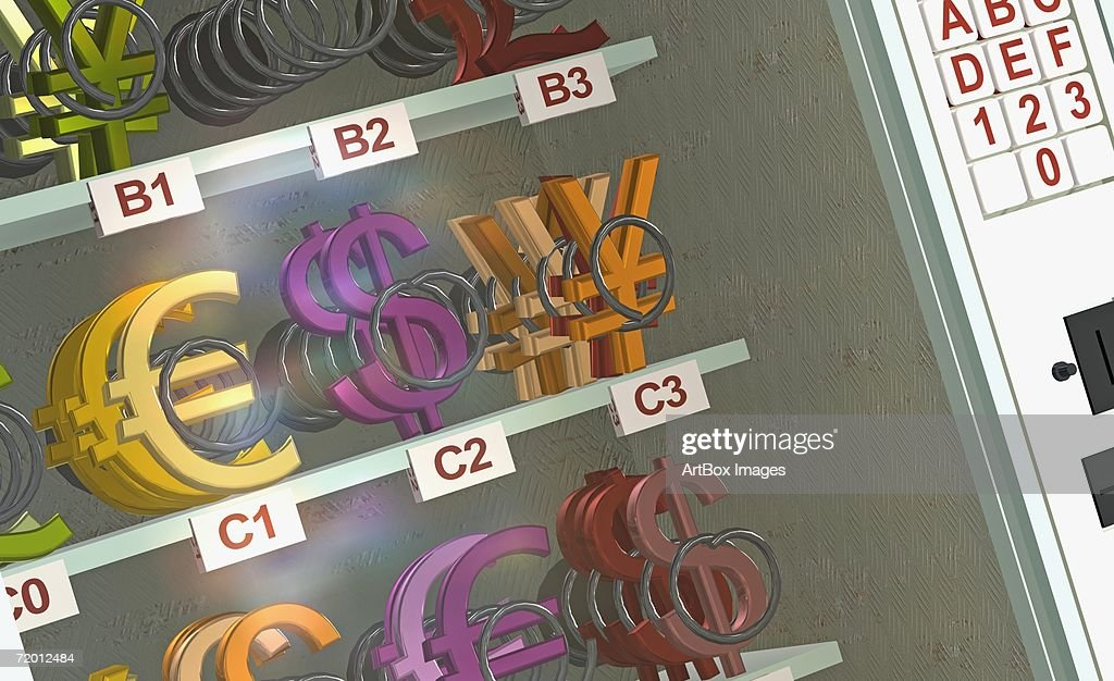 Closeup Of Currency Symbols In A Display Cabinet Of A Vending