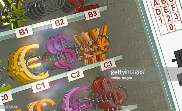ilustraciones, imágenes clip art, dibujos animados e iconos de stock de close-up of currency symbols in a display cabinet of a vending machine - display cabinet