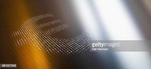 ilustraciones, imágenes clip art, dibujos animados e iconos de stock de close-up of euro symbol made of binary code over abstract background - finanzas y economía