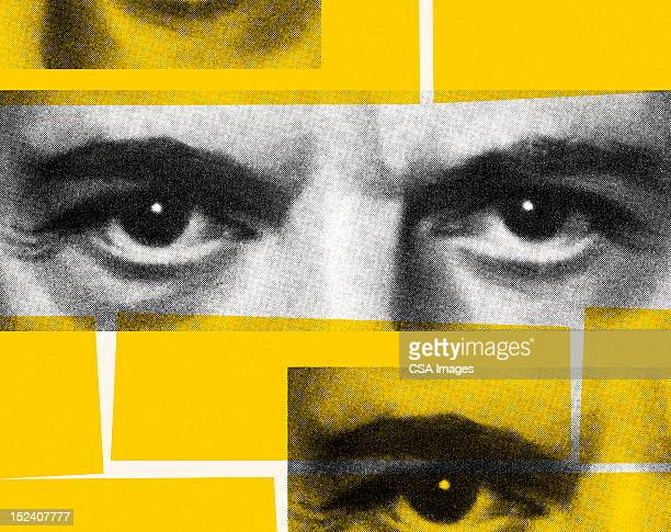 closeup of eyes - composite image stock illustrations