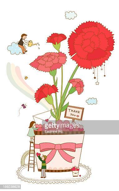 close-up of flower pot - carnation flower stock illustrations, clip art, cartoons, & icons