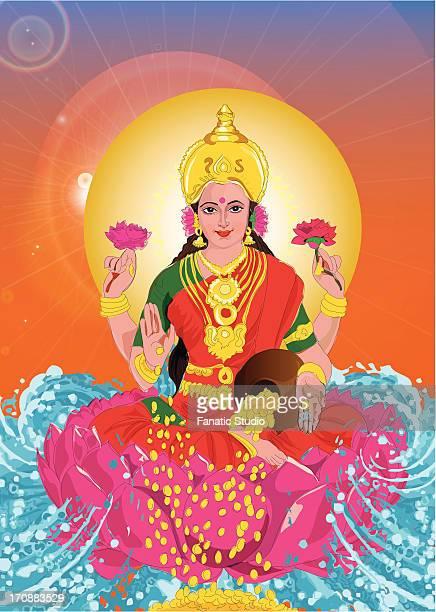 close-up of goddess lakshmi - goddess lakshmi stock illustrations