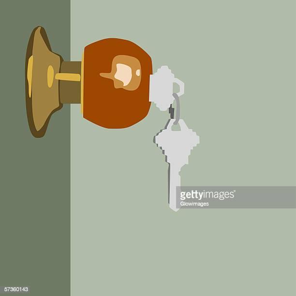 close-up of keys in a door lock - lock stock illustrations