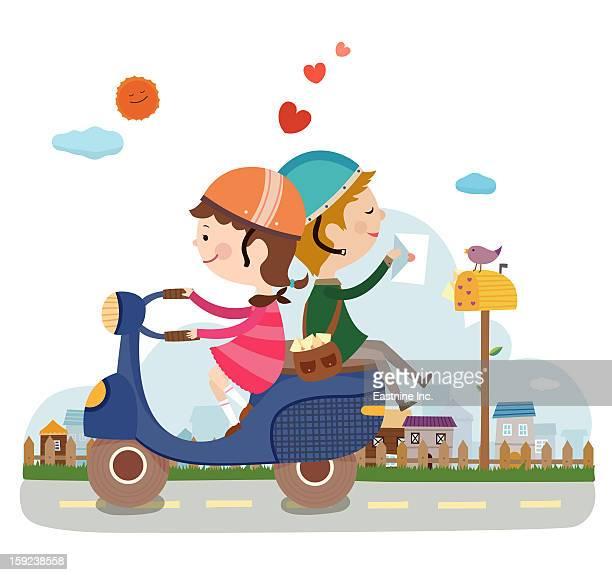 stockillustraties, clipart, cartoons en iconen met close-up of lovers - moped
