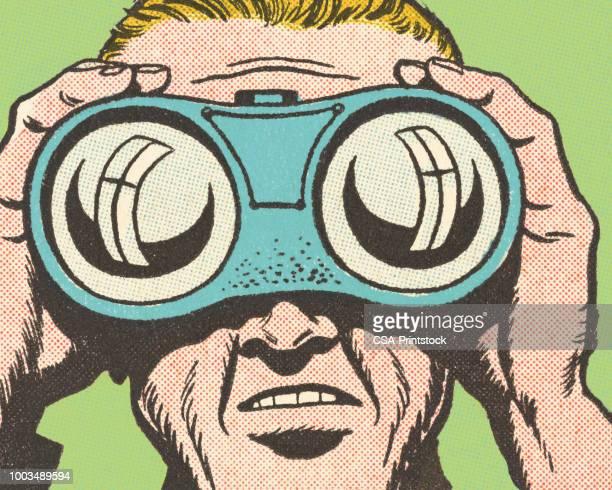 nahaufnahme des menschen blick durch ein fernglas - fernglas stock-grafiken, -clipart, -cartoons und -symbole
