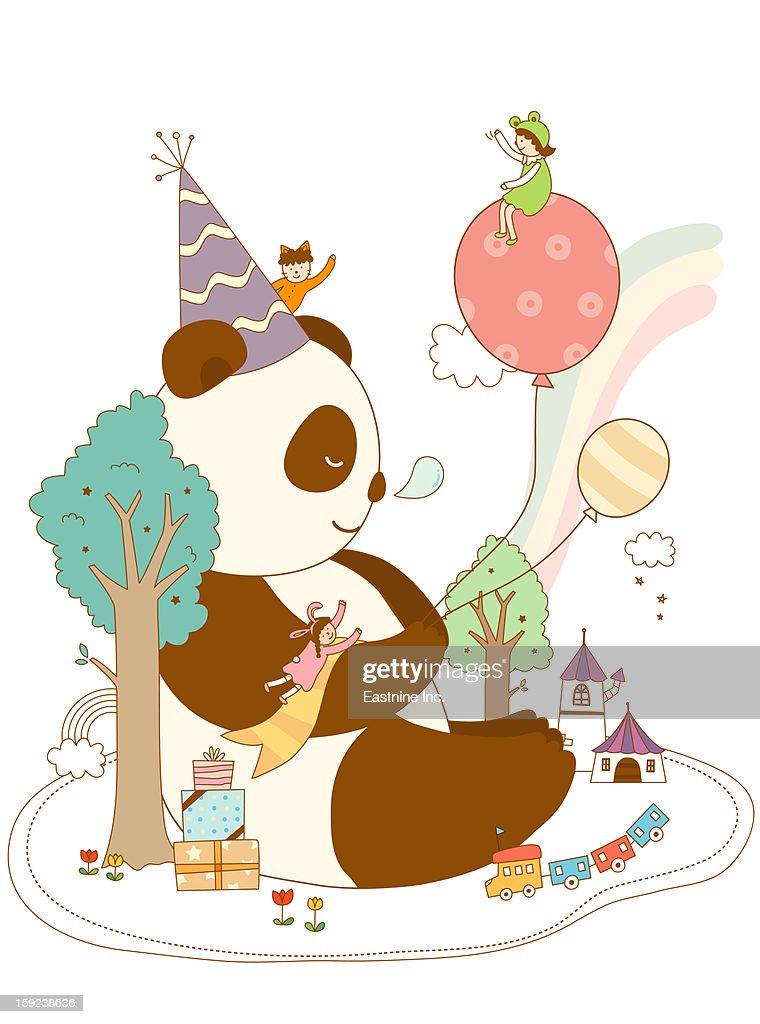 Close-up of panda : Stock Illustration