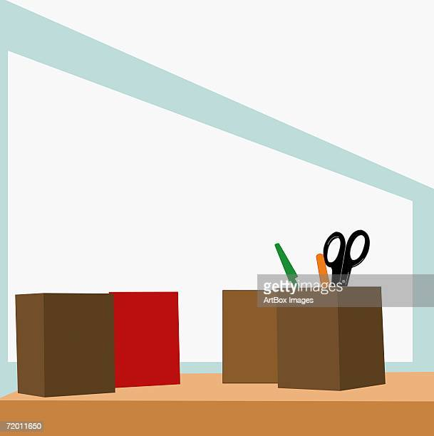 close-up of pen stands on a table - desk organizer stock illustrations, clip art, cartoons, & icons