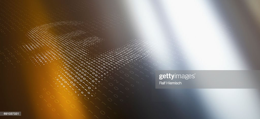 Closeup Of Pound Symbol Made Of Binary Code Over Colored Background