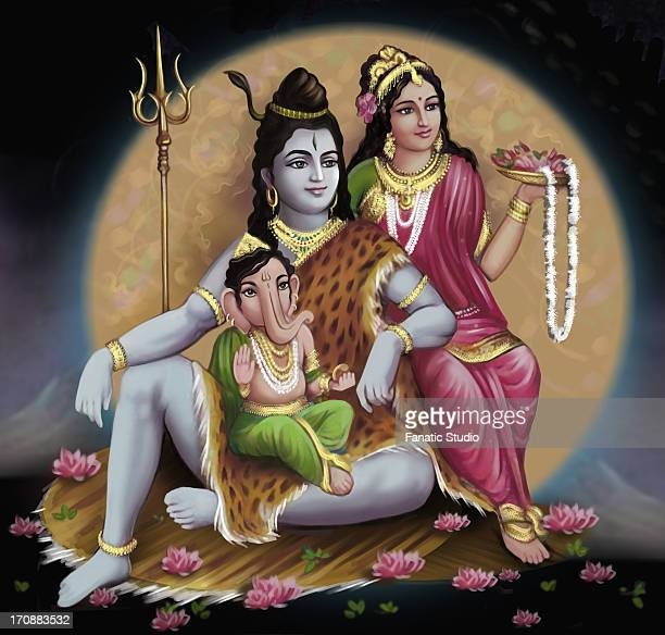close-up of shiv-parvati with lord ganesha - shiva stock illustrations