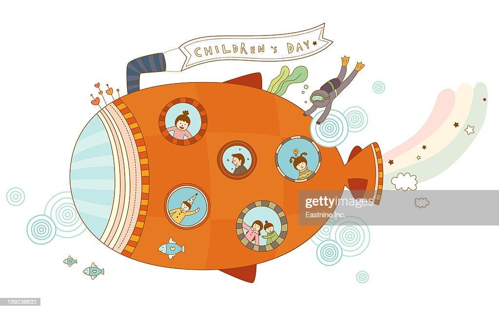 Close-up of submarine : Stock Illustration