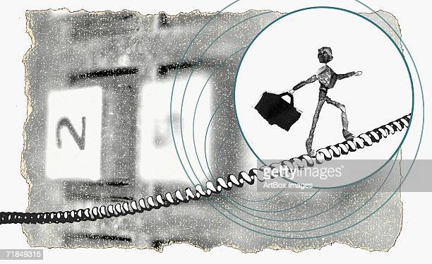 close-up of the newspaper figurine of a man walking on the telephone cord - phone cord stock illustrations