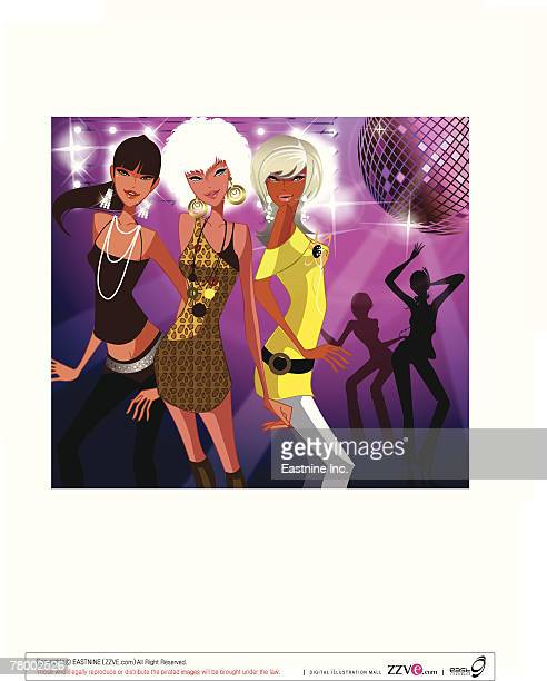 Close-up of three women dancing in a nightclub