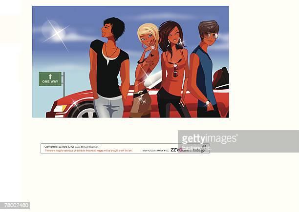 ilustrações de stock, clip art, desenhos animados e ícones de close-up of two men with two women standing near a car - cabelo de comprimento médio