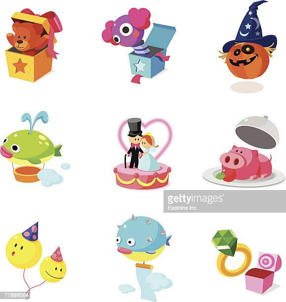 illustrations, cliparts, dessins animés et icônes de close-up of various objects - diable à ressort