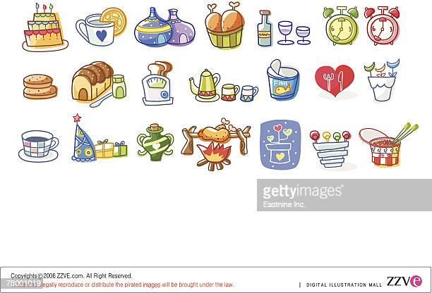 ilustraciones, imágenes clip art, dibujos animados e iconos de stock de close-up of various types of food - pollo asado