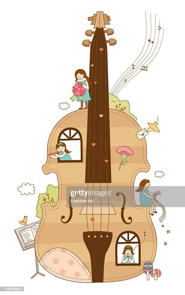 Close-up of violin : Stock Illustration