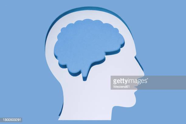 close-up of white human head and brain made with paper on blue background - human representation stock illustrations